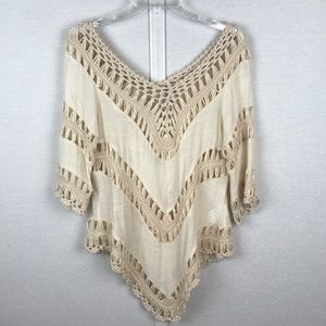 URBAN OUTFITTERS | EOOTE Open Knit Tunic in Beige